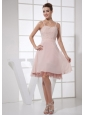 Light Pink Beading Decorate Bodice Straps knee-length 2013 Prom Dress