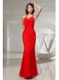 Mermaid Beading Halter Chiffon Floor-length Prom Dress Red