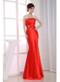Mermaid Strapless Floor-length Taffeta Beading Red Prom Dress