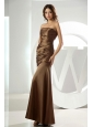 Mermaid Strapless Taffeta Brown Ruched Ankle-length Prom Dress