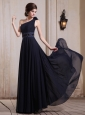 Navy Blue Prom / Evening Dress With One Shoulder Beaded and Hand Made Flower Chiffon