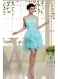 One Shoulder Baby Blue and Beading For Prom Dress With Ruffles