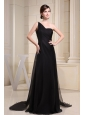 One Shoulder Black Pron Dress With Brush Train
