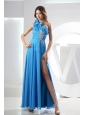 One Shoulder Empire Ankle-length Beading Baby Blue Chiffon Prom Dress