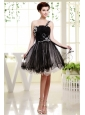 One Shoulder Mini-length Organza For Black Prom Dress