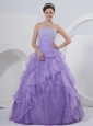 Pleat A-line Strapless Chiffon Lilac Floor-length Quinceanea Dress