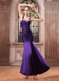 Purple Prom Dress With Straps Beaded and Ruched Mermaid Ankle-length