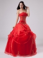Red 2013 Quinceanera Dress With Embroidery and Pick-ups Organza For Custom Made