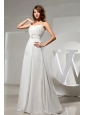 Simple Wedding Dress With Beaded Decorate Waist and Ruch Bodice