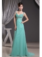 Straps Prom Dress With Beadng Ruch Brush Train and Turquoise