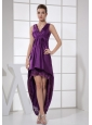 V-neck Purple and High-low For Custom Made Prom Dress