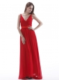 V-neck Red Prom Dress With Ruch Floor-length Chiffon