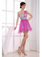 A-Line One Shoulder Hot Pink Organza Mini-length Beading Prom Dress
