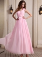 Baby Pink One Shoulder Prom Dress With Hand Made Flower Ankle-length Chiffon For Party