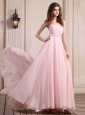 Baby Pink Prom Dress With Beaded Chiffon Brush Train For Party