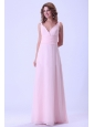 Baby Pink V-neck Bridemaid Dress Chiffon