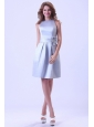 Bateau Silver Bridemaid Dress With Hand Made Flower Knee-length