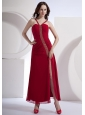 Beading Decorate Bodice High Slit Ankle-length Wine Red Chiffon 2013 Prom Dress