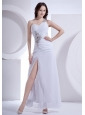 Beading Decorate One Shoulder and Waist High Slit Ankle-length White Chiffon 2013 Prom Dress