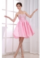 Beading Pink Sweetheart A-Line Taffeta Knee-length Prom Dress