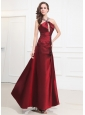 Beading Taffeta Prom Dress Halter A-Line Wine Red Floor-length