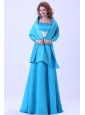 Blue Bridemaid Dress With Brush Train Satin A-line