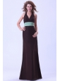 Brwon Bridemaid Dress With Belt Halter Floor-length Backless