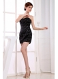 Column Sweetheart Taffeta Mini-length Prom Dress Black