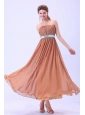 Custom Made For Rust Red Bridemaid Dress With Blue Belt and Ruching Chiffon Ankle-length