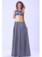 Dark Grey Bridemaid Dress With Ruching Spaghetti Straps Floor-length