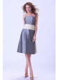 Grey Bridemaid Dress With Champagne Sash Knee-length Satin