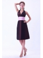 Halter Brown Bridemaid Dress With Pink Belt Knee-length Taffeta