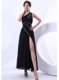 High Slit One Shoulder Ankle-length Beading 2013 Prom Dress