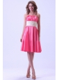 Hot Pink Bridemaid Dress With Ruching Knee-length Taffeta For Custom Made