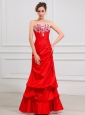 Lace Strapless A-Line Taffeta Floor-length Prom Dress Red