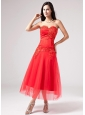 Luxurious Red Sweetheart Prom Dress Beading Appliques With Tulle