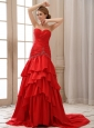 Mermaid Prom Dress With Sweetheart Ruched Bodice and Beading
