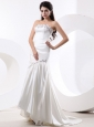 Mermaid Wedding Dress With Beading and Brush Train