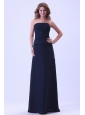 Navy Blue Strapless Bridemaid Dress Chiffon For Custom Made
