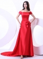 Off The Shoulder For Red Prom Dress With Bowknot and Brush Train