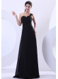 One Shoulder Black Chiffon Floor-length 2013 Prom Dress