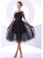 One Shoulder Black Tulle A-line Knee-length 2013 Prom Dress