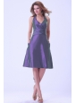 Purple Halter Bridemaid Dress Knee-length Taffeta