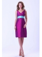 Purple V-neck Bridemaid Dress With Blue Belt Knee-length Taffeta
