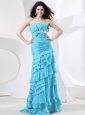 Ruch Bodice and Beading Ruffled Layers For Prom Dress With Bowknot