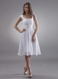 Straps Prom Dress With Appliques Knee-length Chiffon For Custom Made