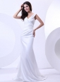 V-neck Wedding Dress With Brush Train