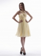 Yellow Prom / Homecoming Dress With Beaded V-neck Knee-length Chiffon