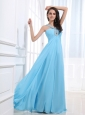 Beaded Decorate V-neck and Baby Blue For Simple Custom Made Prom Dress