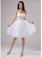 Beaded Decorate Waist Knee-length Organza A-Line Sweetheart Prom Dress